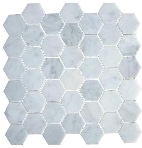 2 Inch Bianco Carrera White Marble Hexagon Mosaic Tile Honed
