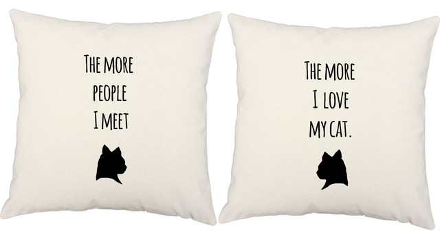 """RoomCraft Love My Pet Throw Pillow Cover/Cushion Set, White Indoor/Outdoor, 16""""x"""