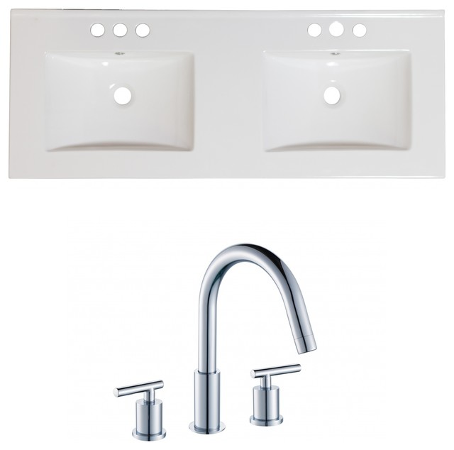 "Ceramic Top Set, White Color With 8"" O.c. Cupc Faucet."