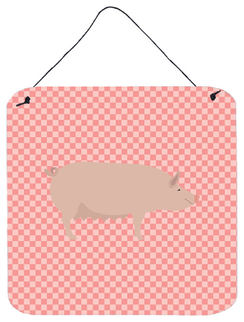 English Large White Pig Pink Check Wall Or Door Hanging Prints Farmhouse Outdoor Wall Art By The Store