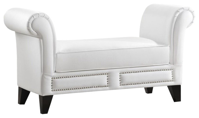 Marsha Modern Faux Leather Scroll Arm Bench, White.