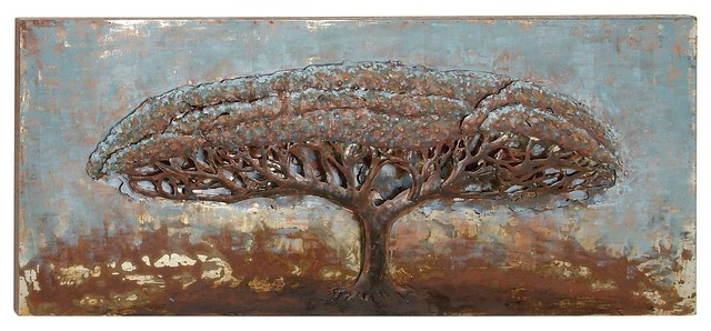 Tropical Iron Tree With Spread Out Branches Painted Wall Art