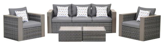 Modern Contemporary 3-Piece Set Outdoor Patio Teak Sofa Set, White, Fabric, Wood
