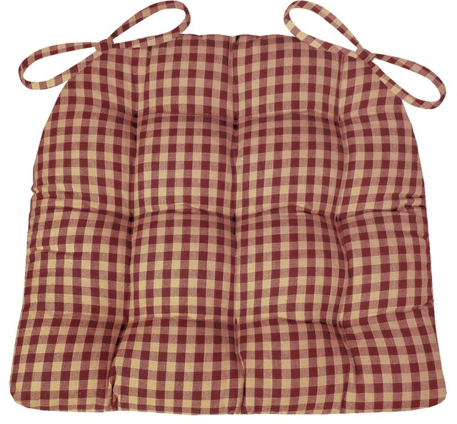Checkers Red & Tan Dining Chair Pads Farmhouse, Standard.