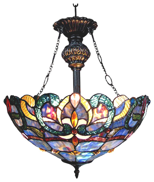 Chloe Lighting Nora Tiffany Style Victorian 2 Light Inverted Ceiling Pendant.