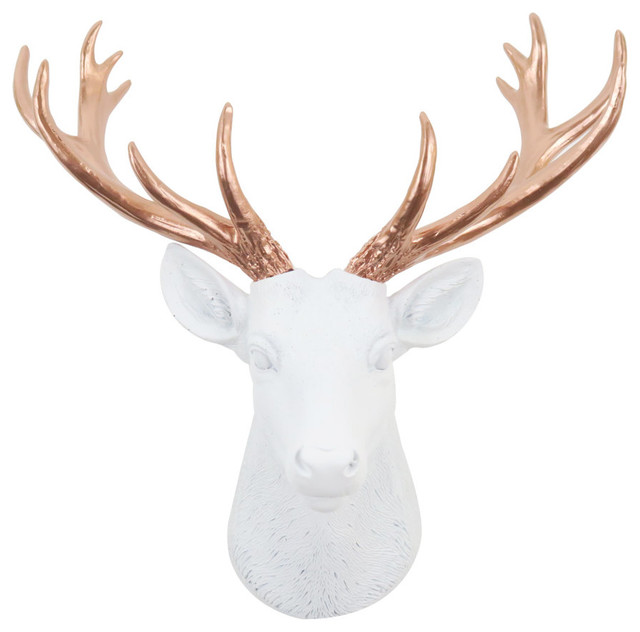 Faux Mini White And Rose Gold Deer Head Wall Decor Rustic Sculptures By Near