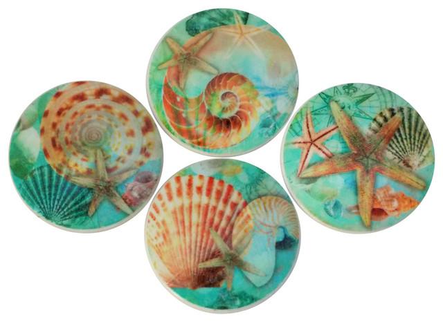 Nautilus Seashell Oversized Cabinet Knobs, 4 Piece Set, Blue