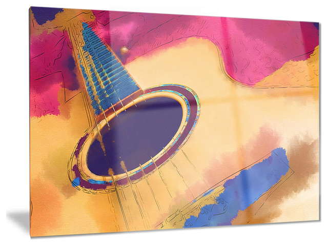 """Music Metal Wall Art listen to the colorful music"""" music glossy metal wall art - modern"""
