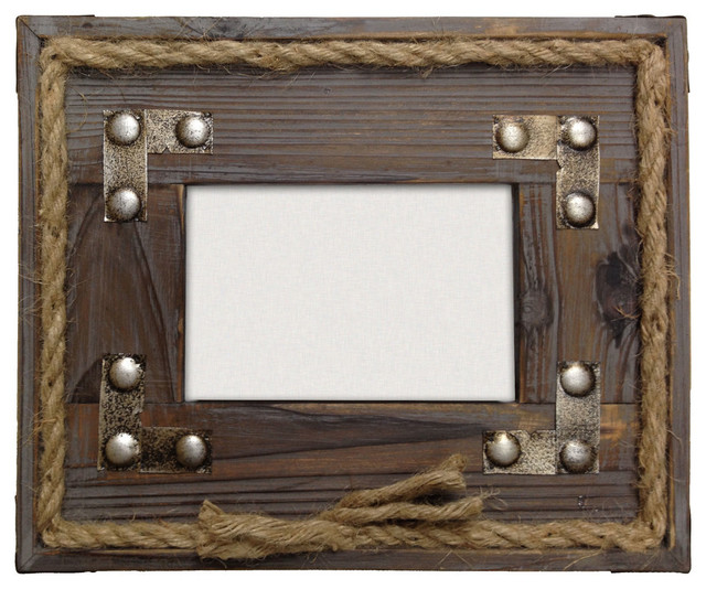 Hiend Accents Wood With Metal Strips And Rope Frame