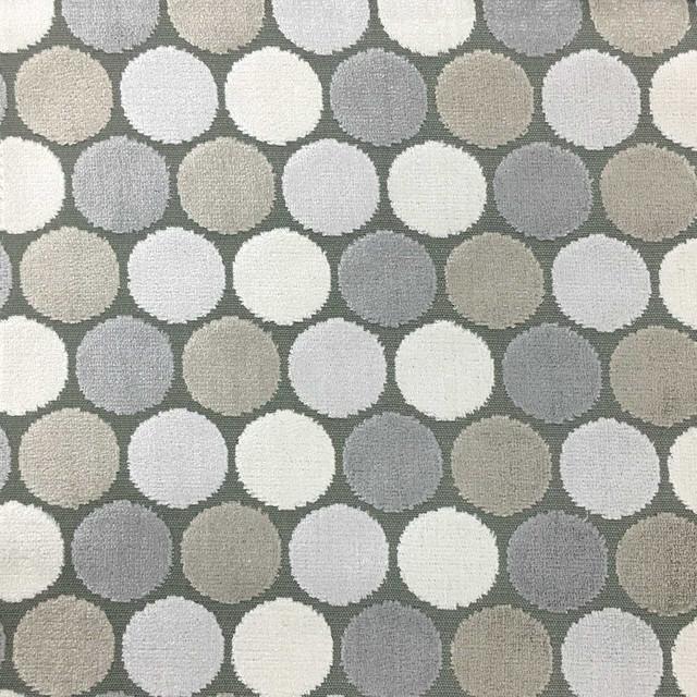 Dab-Polka Dot Cut Velvet Upholstery Fabric, Yard, Driftwood