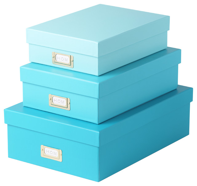 High Quality Magnetic Lid Storage Boxes   Mint Ombre, Set Of 3 Contemporary Storage Bins