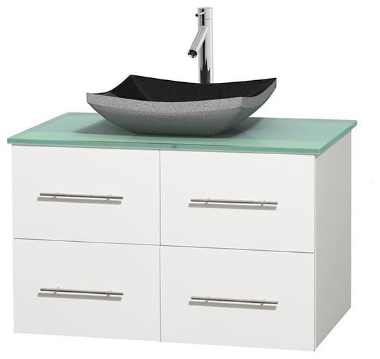 Single Bathroom Vanity, Sink, Green Glass Countertop, Matte White