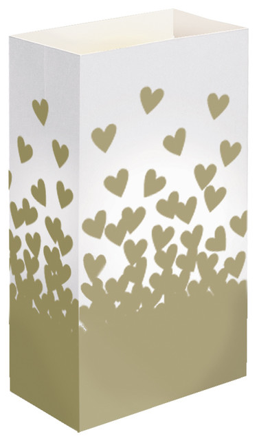 Lumabase Luminarias Luminaria Bags, Gold Hearts, Set Of 24.