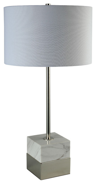 "30"" Square Marble Base Table Lamp, White And Polished Nickel."