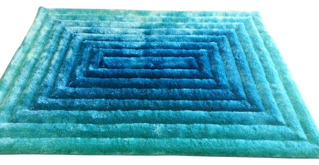 5u0027x7u0027 3D Turquoise Living Room Hand Tufted Area Shag Rug