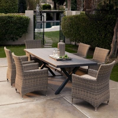 Belham Living Bella All Weather Wicker Patio Dining Set Seats 6