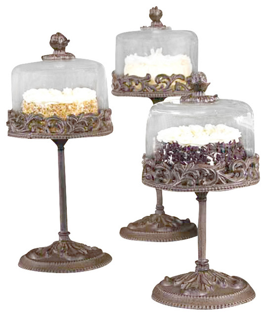gg collection medium covered dessert pedestal with glass dome - Gg Collection
