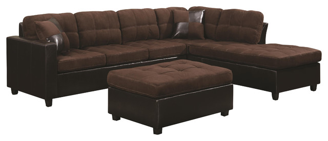 Coaster Mallory Reversible Sectional Chocolate Transitional