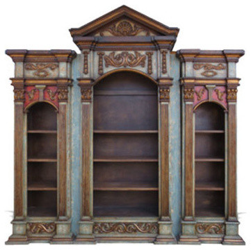 Majestic Ocean Bookcase, Ocean Turquoise W/ Spanish Red and Old Gold