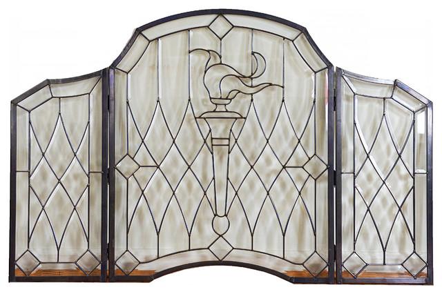 "Bevel Clear Glass Folding Fireplace Screen Hand Made 52""x34"""