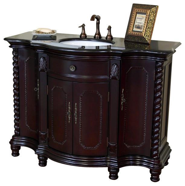 "48"" Single Sink Vanity, Birch Wood, Dark Mahogany, Black Granite Counter Top"