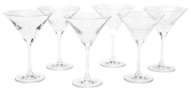 Oslo Assorted Etched Martini Glass Set Of 6