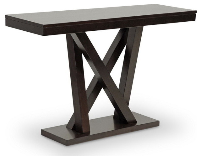 Baxton studio everdon dark brown modern sofa table for 10 spring street console table