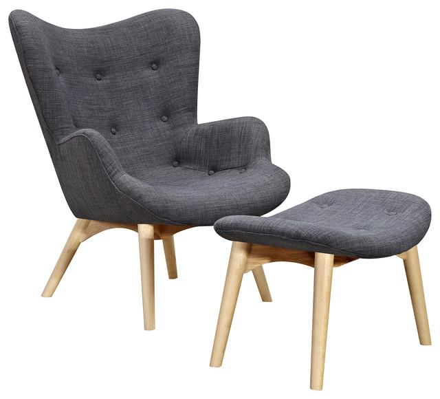 Ludo Midcentury Modern Upholstered Lounge Chair, Light Wood Legs, Grey
