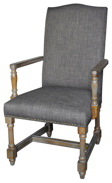 Crestview Grayson Rustic Wood And Gray Linen Arm Chair