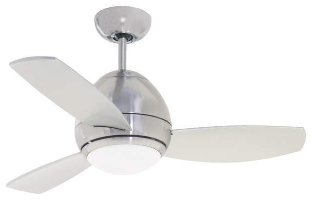 """44"""" Curva Fan, Brushed Steel And Brushed Steel Blades"""