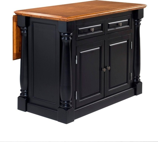Homestyles Monarch Wood Kitchen Island with Oak Top in Black Finish