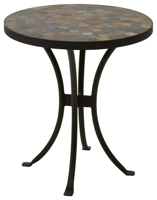 "18"" Slate Mosaic Accent Table With Metal Base - Southwestern ..."