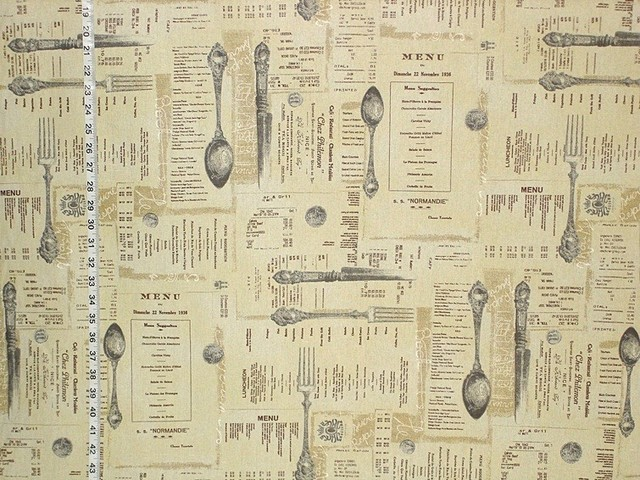 French English Menu Fabric Document Script Brown Toile