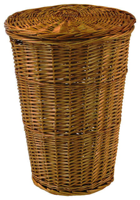 Round Willow Hamper With Matching Lid, Honey.