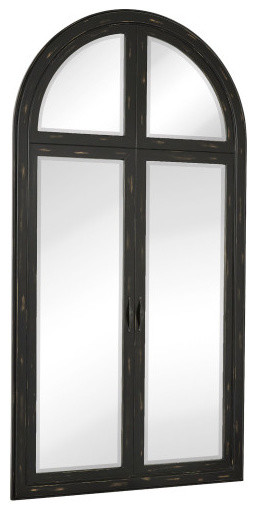 Black beveled glass full length arched window pane wall for Black full length wall mirror