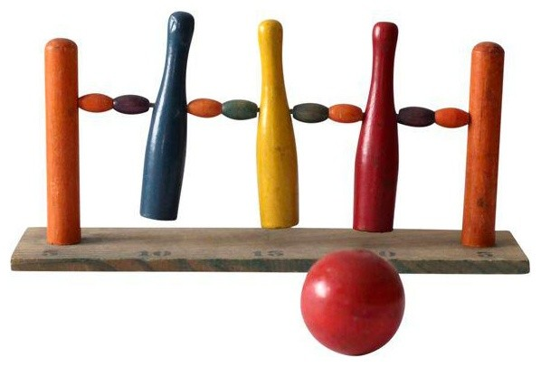 Consigned, Antique Childrenu0027s Tabletop Bowling Game  Contemporary Kids Toys And Games
