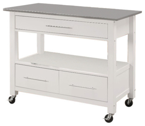 Kitchen Cart With Stainless Steel Top, Gray And White.