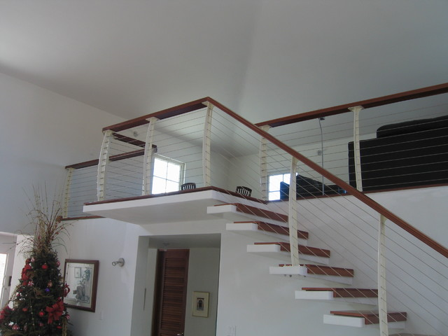White Interior Cable Railing On Cantilever Stairs Contemporary Staircase New York By
