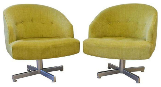 Ordinaire Chartreuse Velvet Swivel Bucket Chairs   A Pair