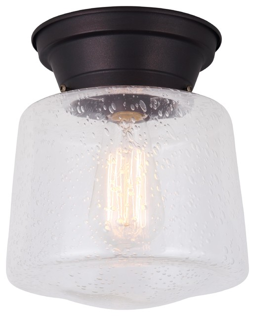 Canarm Mill 1 Light Flush Mount Seeded Gl Oil Rubbed Bronze Finish