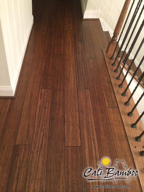 Charming Antique Java Fossilized® Bamboo Flooring On Stairs Traditional