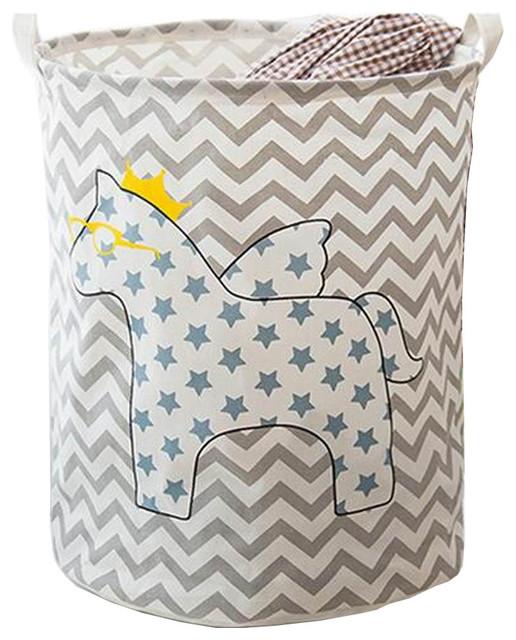 Horse Wave Foldable Cloth Laundry Basket Laundry Hamper Toy Storage Basket.