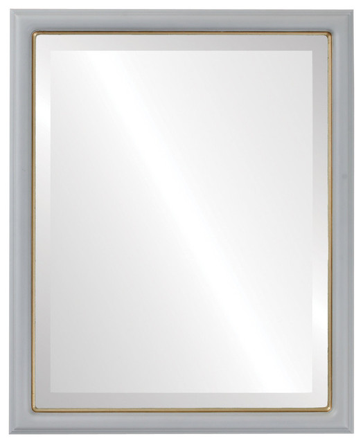 Hamilton Framed Rectangle Mirror in Linen White with Gold Lip, 21x25 by The Oval & Round Mirror Store
