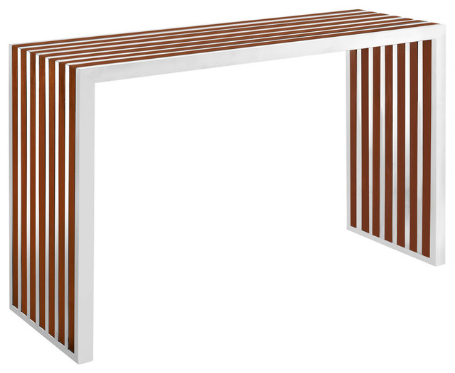 Gridiron Wood Inlay Console Table - Contemporary - Console Tables - by Furniture East Inc.