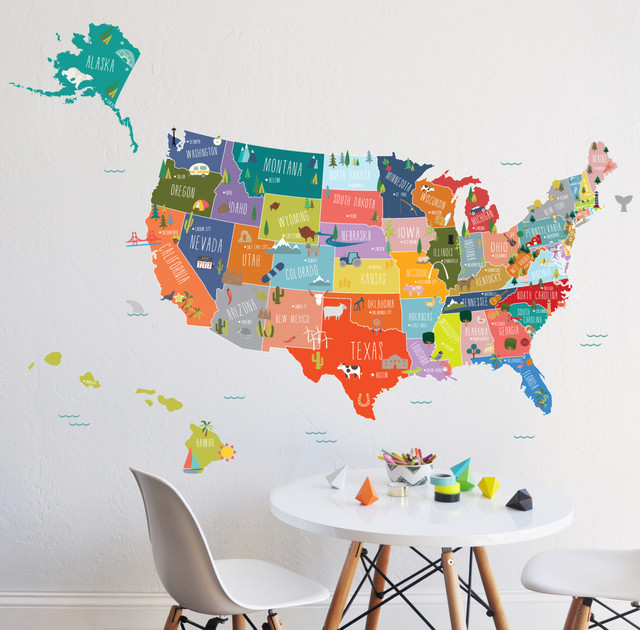 U S Of A Interactive Map Wall Decal Contemporary Wall Decals