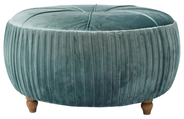 Helena Round Ottoman Natural Wood Legs Emerald