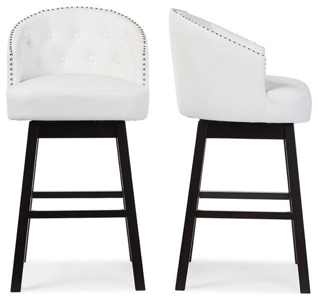 Swell Avril Faux Leather Tufted Swivel Barstools With Nail Heads Trim White Set Of 2 Creativecarmelina Interior Chair Design Creativecarmelinacom