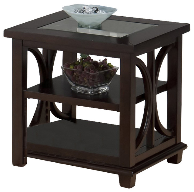 Jofran Panama End Table With Tempered Glass Insert In Brown Transitional  Side Tables