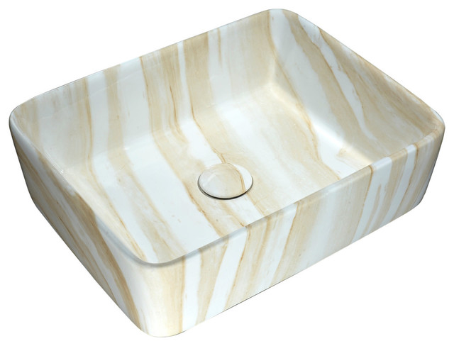 Marbled Series Ceramic Vessel Sink, Marbled Cream Finish.