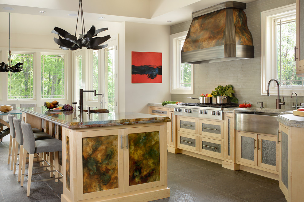 Example of a mid-sized eclectic home design design in New York